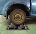 Brake testing system of car a rear wheel Royalty Free Stock Photography