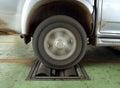 Brake testing system of car a rear wheel Stock Image