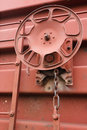 Brake wheel detail view of freight car Stock Photo