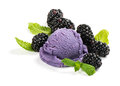 Bramble ice cream with berry and mint Royalty Free Stock Photo
