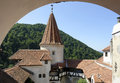Bran castle detail of the a in the carpathian mountains in romania Royalty Free Stock Photo