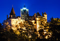 Bran castle night dracula fortress in omania medieval romania brasov known for myth one of landmarks of romania xivth century the Stock Photography