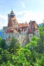 Bran castle overlooking the forest massive built surrounding Stock Images