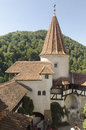 Bran castle romania surrounded by an aura of mystery and legend and perched high atop a foot high rock owes its fame to its Stock Photos