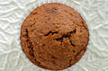 Bran muffin on white rippled plate Royalty Free Stock Images