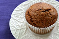 Bran muffin on white rippled plate Stock Images