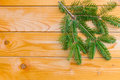 Branch of Christmas fir tree on the wooden board Royalty Free Stock Photography