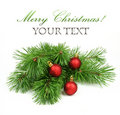 Branch of Christmas tree and decoration Royalty Free Stock Images