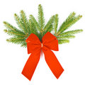 Branch of christmas tree with red ribbon Royalty Free Stock Photos
