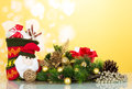 Branch cones and other Christmas decorations close-up on a yello Royalty Free Stock Photo