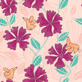 Branch Flowers Birds Smell Seamless Pattern_eps Stock Photography