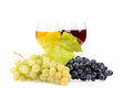 Branch of grapes and glass of wine Royalty Free Stock Images