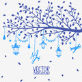 Branch lanterns vector silhouette of a tree with and airplanes Royalty Free Stock Photography