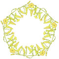Branch with leaves buds and flowers bindweed floral pentagonal frame, border wreath for your text yellow light green Leaves contou