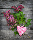 Branch of lilac and heart on a wooden background Royalty Free Stock Image