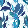 Branch tropical heliconia flower leaves seamless background. Watercolor realistic drawing in flat blue color style. isolated on wh
