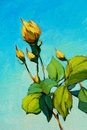 Branch of yellow rose painting by oil on canvas illustration Stock Photo