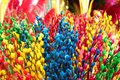 Branches of painted yellow, pink, red, blue and green colors willow on a flower market. Royalty Free Stock Photo