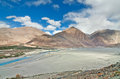 Branching river in flat valley meandering and flowing of ladakh india Stock Images