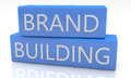 Brand building d render blue box with text on it on white background with reflection Royalty Free Stock Photography