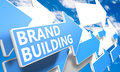 Brand building d render concept with blue and white arrows flying in a blue sky with clouds Royalty Free Stock Images