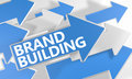Brand building d render concept with blue and white arrows flying over a white background Royalty Free Stock Images