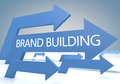 Brand building render concept with blue arrows on a bluegrey background Royalty Free Stock Photos