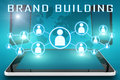 Brand building text illustration with social icons and tablet computer and mobile cellphones on cyan digital world map background Royalty Free Stock Photos