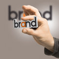 Brand company identity one hand holding the word over a beige background branding concept the image is a composition between d Royalty Free Stock Image