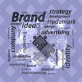Brand concept. Inscriptions with a puzzle Royalty Free Stock Photo