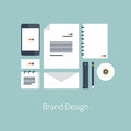 Brand design flat illustration concept vector poster with icons set of modern identity with variety blank office objects Royalty Free Stock Photography
