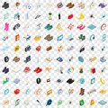 100 brand icons set, isometric 3d style