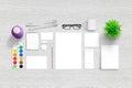 Brand identity portfolio presentation. Top view scene with , blank stationery Royalty Free Stock Photo