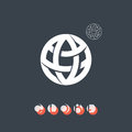 Brand identity symbol globe icon sign of the earth global process logo with its simple outline form trendy mono crossed line Royalty Free Stock Photos