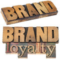 Brand loyalty in wood type and business concept collage of isolated text letterpress printing blocks Stock Images