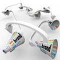 Brand megaphones bullhorns connected marketing promotion several or with the word to spread the word and build buzz for your Stock Image