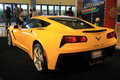 Brand new american sports car yellow chevy corvette c at miami international auto show Royalty Free Stock Photos