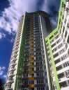 Brand new apartments fragment of modern condominium against a dark blue sky Royalty Free Stock Photos