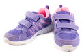 Brand old purple sneakers isolated on white Stock Image