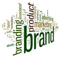 Brand related words in word tag cloud isolated on white Royalty Free Stock Image