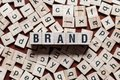 stock image of  BRAND word on building block