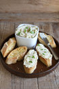 Brandade salt cod emulsion served with toasted bread slices Royalty Free Stock Images