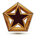 Branded golden geometric symbol stylized star with black fillin filling best for use in web and graphic design refined icon Royalty Free Stock Photos