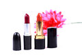 Branded lipsticks beautiful shot of on white background Stock Photo