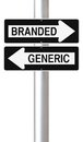 Branded versus generic modified one way street signs on products Royalty Free Stock Photos