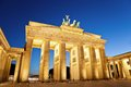 Brandenburg gate of berlin germany at twilight time Royalty Free Stock Images