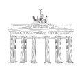 The brandenburg gate in berlin hand drawn pencil sketch illustration brandenburger tor in berlin germany drawing travel label Stock Photos