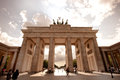 Brandenburg gate in berlin low angle frontal view of the with its historical quadriga statue Royalty Free Stock Image