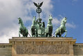 Brandenburg gate detail low angle shot of the quadriga on the in berlin germany in sunny ambiance Royalty Free Stock Photos