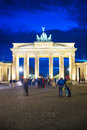 Brandenburg gate at dusk with long exposure and beautiful sky Royalty Free Stock Photo